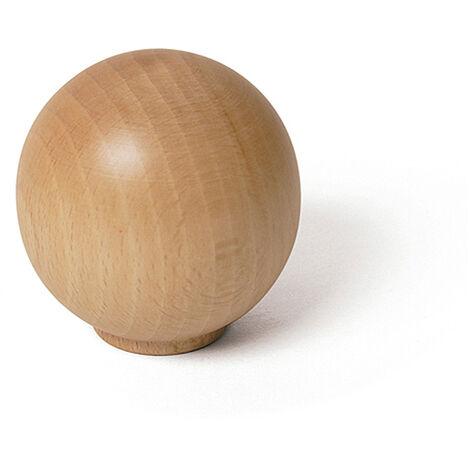 Pomo de estilo funcional, fabricado en madera, con acabado haya transparente y 60 mm de diámetro.