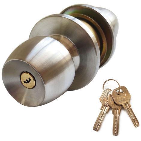 Pomo de puerta Cerradura con 3 llaves Ronda de bola del estilo de la manija de Privacidad dormitorio Bano manija Cerradura de acero inoxidable pulido manija de puerta de la perilla interior con cierre de puerta