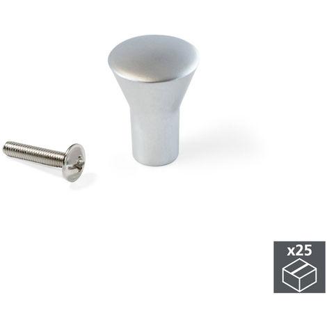 EMUCA Lote de 25 Tirador para armarios o cajones Pomo para Mueble de /Ø25mm pomo Redondo de Aluminio anodizado Mate