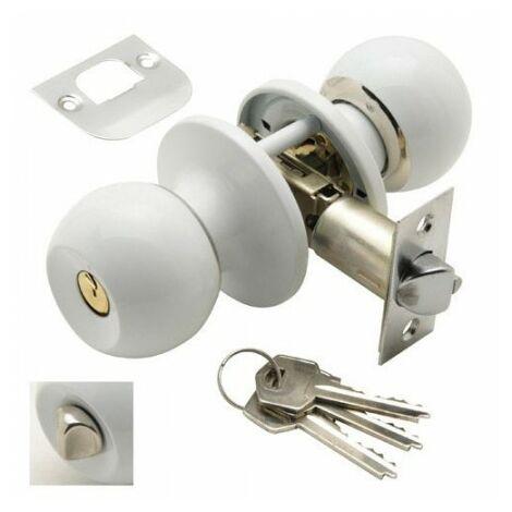 Pomo puerta wolfpack con llave con condena blanco para entrada