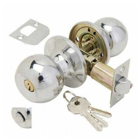 Pomo puerta wolfpack con llave con condena cromado para entrada