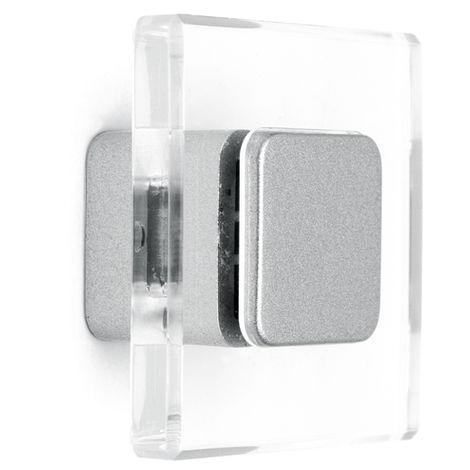 Pomolo quadrata con piano trasparente e inserto effetto cromato lucido 40x21mm - 414Q Minimal
