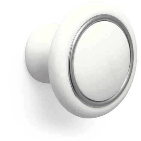 Pomolo tondo bianco con anello cromo 35x26mm- 026 Ring