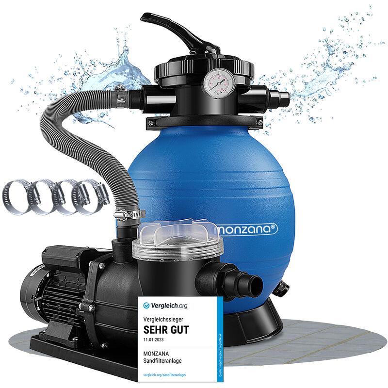Deuba Pompa Filtro Piscina con Prefiltro portata 9.600 l/h Filtro a Sabbia Pompa Filtro Depuratore Sabbia