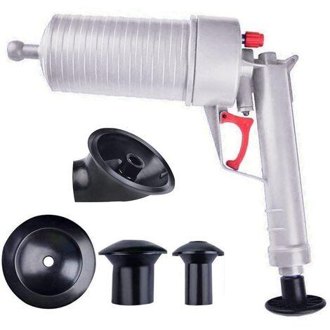 Pompe à air Drain Blaster, Piston de toilette haute pression Pompe à air Drain Unblocker Kit de nettoyage d'ouverture de piston pour toilettes de bain, salle de bain, douche, cuisine Baignoire obstruée, gris