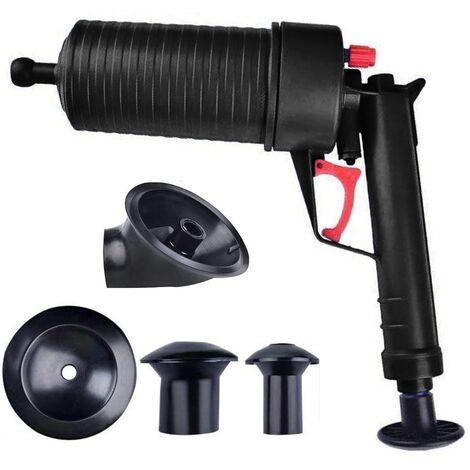Pompe à air Drain Blaster, Piston de toilette haute pression Pompe à air Drain Unblocker Kit de nettoyage d'ouverture de piston pour toilettes de bain, salle de bains, douche, cuisine Baignoire obstruée, noir