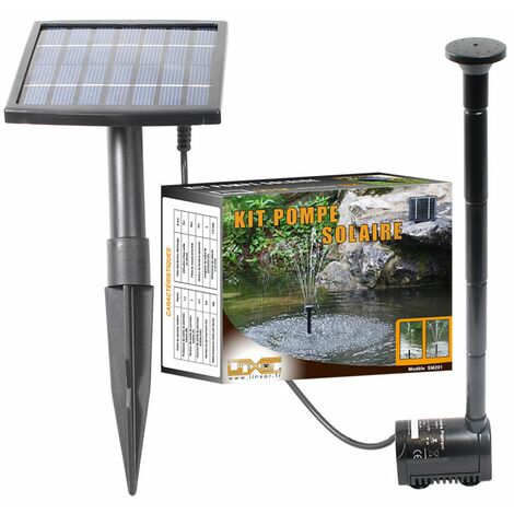 Pompe à eau solaire pour fontaine, bassin ou jardin... avec câble de 5m - Linxor