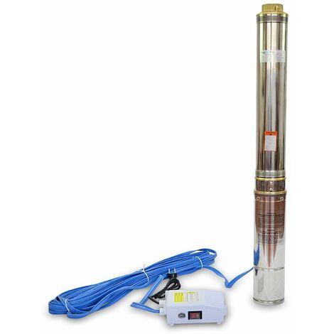 """AgoraDirect - Pompe Immergée, Pompe Pour Puit 1100W/1.5HP, 6m3/h, 1,5"""", Acier Inoxydable, Profondeur Maximale 117m, Câble 20m, 2850RPM, IP68, 16 Roues En Plastique, Pompe De Forage"""