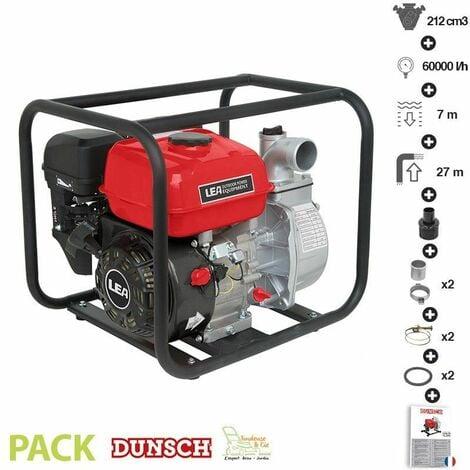 Pompe à eau thermique 5,6Cv 212cm3 débit 60000 l/h LEA LE71212-80 raccord 3 pouces