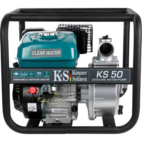 Pompe à essence pour eau propre TM Könner & Söhnen KS 50, hauteur de relevage 27 m, profondeur d'aspiration 8 m, 5,5 CV, moteur thermique à 4 temps EURO V, pompe de surface pour jardins et champs.