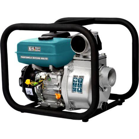 Pompe à essence pour eau propre TM Könner & Söhnen KS 80, hauteur de relevage 30 m, profondeur d'aspiration 8 m, 7,0 CV, moteur thermique à 4 temps EURO V, pompe de surface pour jardins et champs.