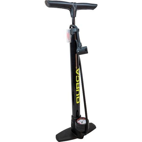 """main image of """"Pompe à pied vélo double embout à manomètre Durca - Pression 8 bar"""""""