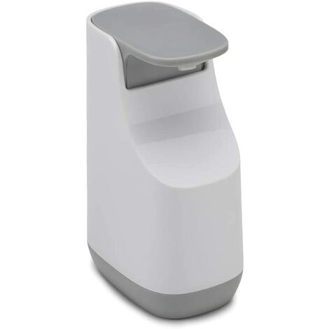 Pompe à Savon Liquide Compacte, Blanc/Gris,Plastique, 9,2 x 7,7 x 14,6 cm