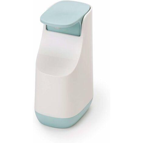 Pompe à Savon Liquide Compacte, Plastique, Blanc-Bleu Ciel, 5,7 x 8,6 x 14,3 cm