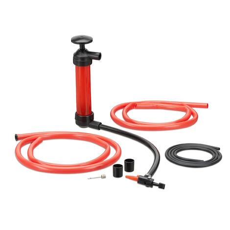 Pompe à Siphon de Transvasement ou à Gonfler huile essence diesel matelas vélo, rouge
