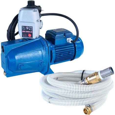 Pompe auto amorçante série JET 230V 0.75kW / 1cv avec 3m de câble + kit aspiration 7m Ø25mm + Presscontrol