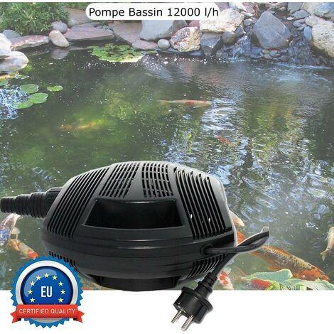 Pompe Bassin 11200 l/h De Qualité, Pour Bassins De Jardin Jusqu'à 12m3 - Noir
