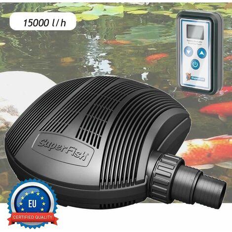 Pompe Bassin 15000 l/h Avec Télécommande. Qualité Premium. Pour Bassins De 20 à 30 m³ - Noir