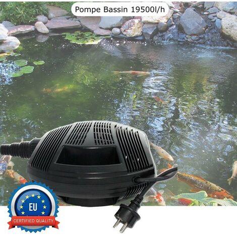 Pompe Bassin 19500 l/h De Qualité, Pour Bassins De Jardin Jusqu'à 20m3 - Noir