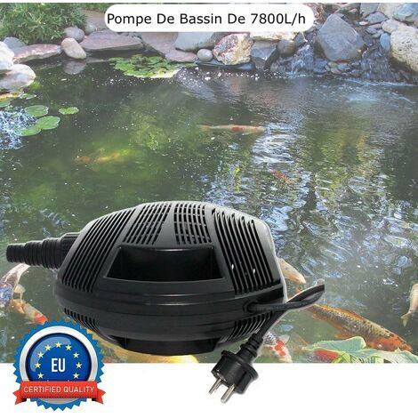 Pompe Bassin 7800 l/h De Qualité, Pour Bassins De Jardin Jusqu'à 8m3 - Noir