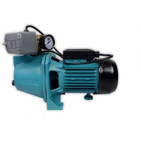 Pompe d'arrosage JET100 POMPE DE JARDIN pour puits 1100 W 60l/min avec interrupteur et manomètre