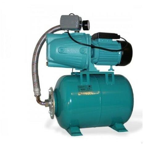 Pompe d'arrosage JET50 avec manomètre, interrupteur et ballon 24L, POMPE DE JARDIN pour puits 600 W, 3000l/h, 230V, JET5024L