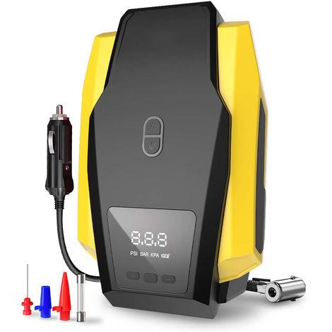 Pompe de compresseur d'air portable 150PSI 12V - Gonfleur de pneu numérique - Pompe de pneu automatique avec éclairage LED d'urgence et long câble pour voiture - Vélo - Moto - Basket-ball et autres