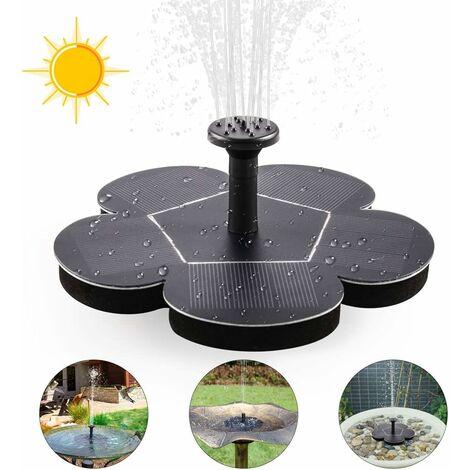 Pompe de fontaine solaire, fontaine solaire flottante avec 4 buses, fontaine flottante pour bains d'oiseaux, étangs ou jardin