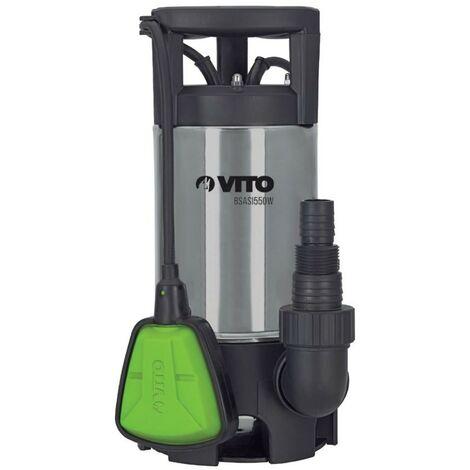 Pompe d'évacuation 550W VITOGARDEN Eaux chargées Acier Inoxydable Vide caves Piscines Eaux claires ou Eaux sales Câble 10m