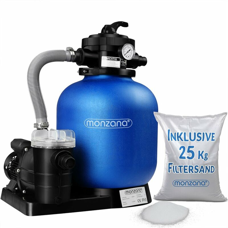 Pompe filtre à sable 11.000 l/h verre filtrant 25 kg système filtration piscine