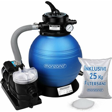 Pompe filtre à sable 9.960 l/h verre filtrant 25 kg système filtration piscine