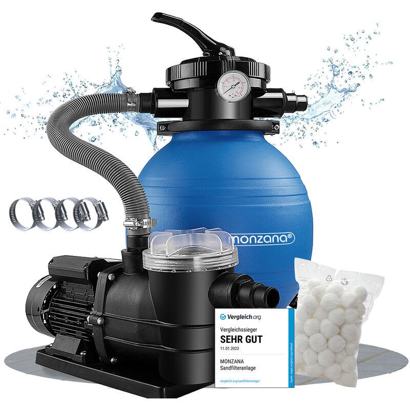 Pompe filtre à sable 9,960 m³ système filtration piscine boules filtrantes 700g