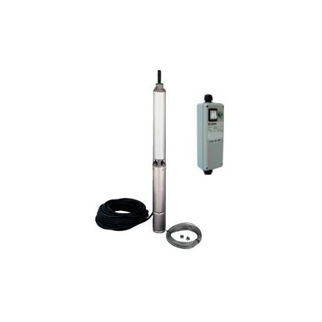Pompe LOWARA 2GS07M K/QSM de forage 4'' GS - 3 m3/h - 93 m - Rp 1''¼ - Mono 230V - 50Hz - 0,75 kW - avec 40 m de câble et coffret QSM