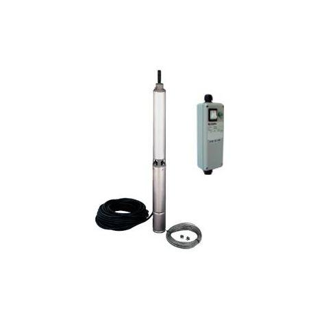 Pompe LOWARA 4GS07M K/QSM de forage 4'' GS - 5,4 m3/h - 60 m - Rp 1''¼ - Mono 230V - 50Hz - 0,75 kW - avec 40 m de câble et coffret QSM