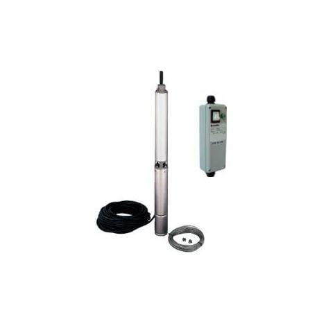 Pompe LOWARA 4GS11M K/QSM de forage 4'' GS - 5,4 m3/h - 94 m - Rp 1''¼ - Mono 230V - 50Hz - 1,1 kW - avec 40 m de câble et coffret QSM