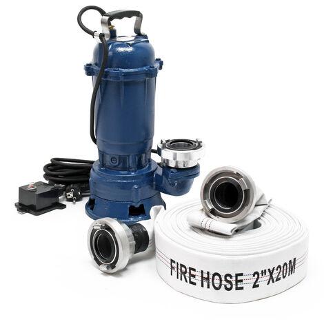 Pompe pour eaux usées 1100W 15.000l/h avec pompe submersible de 20m de flexible