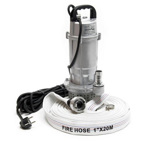 Pompe pour eaux usées 370W Pompe-cave Pompe submersible Débit 1.500 l/h avec Tuyau 20m Évacuation