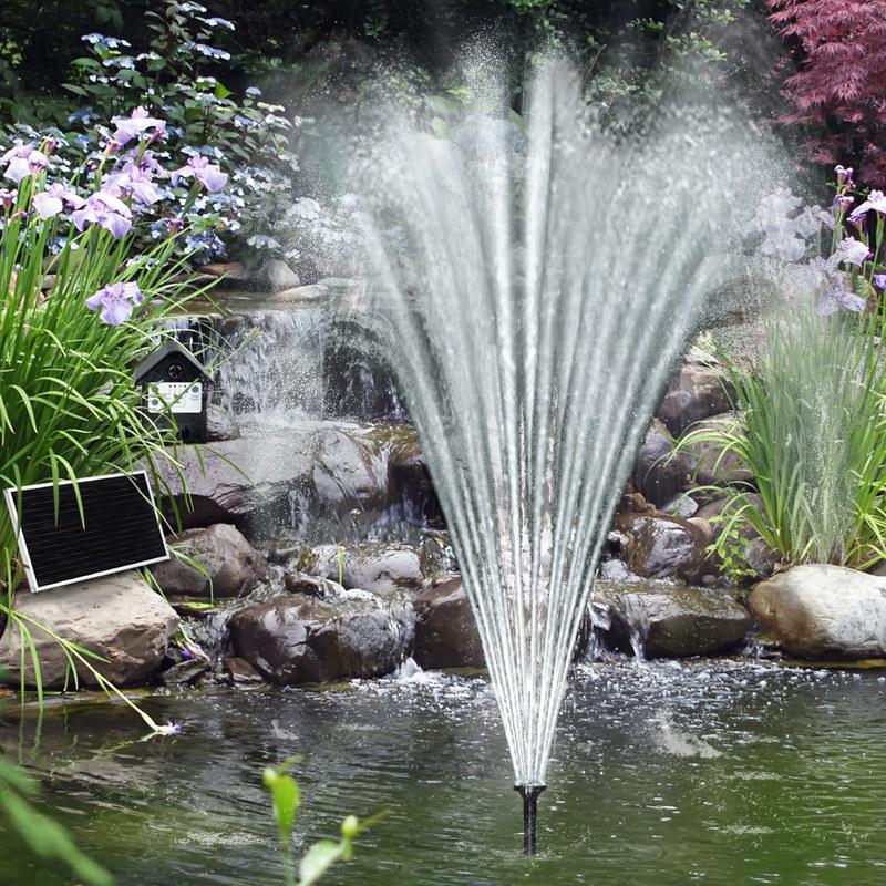 Pompe solaire pour étang - Fontaine - Avec batterie et panneau ...