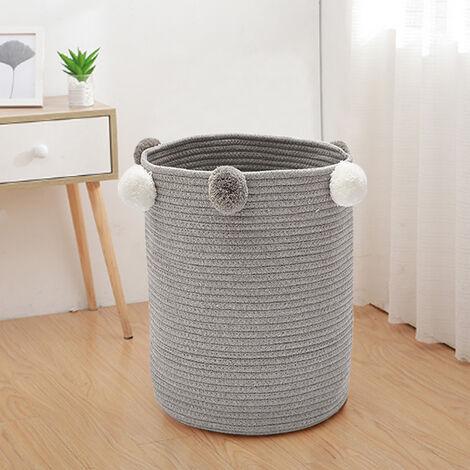 Pompom Cotton Rope Storage Basket Dirty Clothes Laundry Hamper Kids Toys Bins Grey
