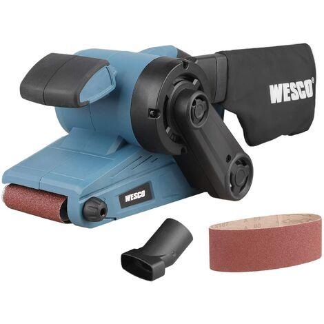 Ponceuse à bande, Ponceuse WESCO 920W avec Contrôle de 6 Vitesses, Dimensions de la Bande 76 x 533mm, 150-270 RPM avec 1 Bande de Ponçage P80 et Sac à Poussière/WS4366