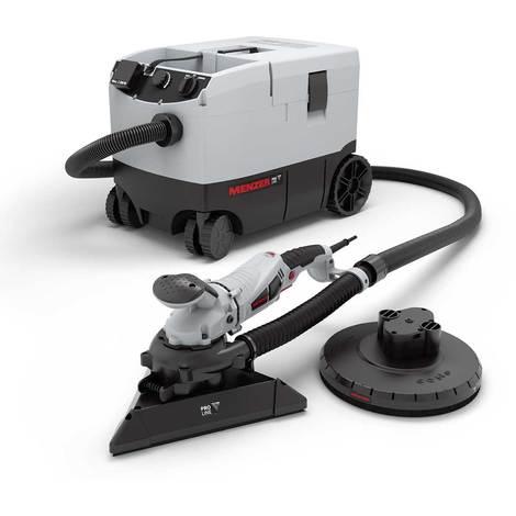 Ponceuse à plâtre compacte MENZER TSW 225 PRO avec système de tête interchangeable et aspirateur industriel VC 790 PRO / + kit d'abrasifs