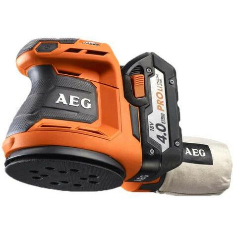 Ponceuse excentrique AEG 18V 125mm Li-ion - 2 batteries 4.0Ah - 1 chargeur 80min - BEX18-125 LI-402C