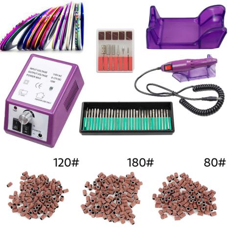 Ponceuse Ongle électrique Manucure & Pédicure Outil Violet Kit Machine à Ongles 0 à 20.000 tours-minute