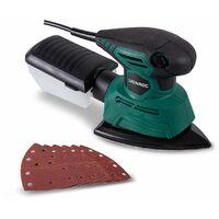 Ponceuse | Ponceuse à main - Ponceuse détail 130W - Avec boîte permettant de recueillir la poussière et 6 papiers abrasifs