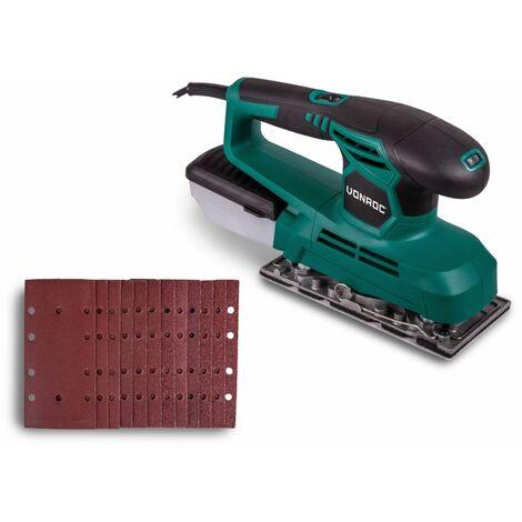 Ponceuse vibrante 240W – 90x187mm – Boîtier de récupération de poussière et 12 feuilles abrasives inclus