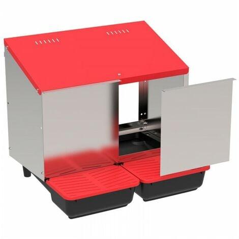 Pondoir collecteur d'oeufs en plastique 2 compartiments pour poulailler