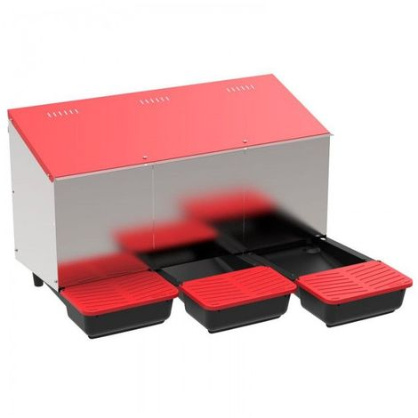 Pondoir collecteur d'oeufs en plastique 3 compartiments pour poulailler