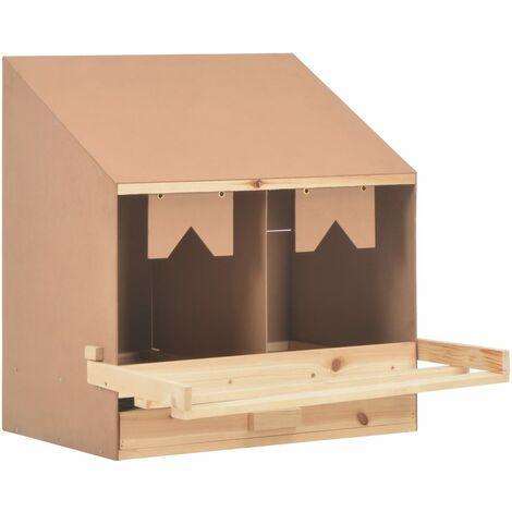 Ponedero para gallinas 2 compartimentos madera pino 63x40x65cm