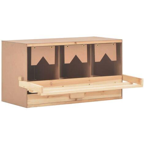 Ponedero para gallinas 3 compartimentos madera pino 72x33x38 cm