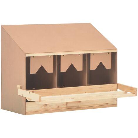 Ponedero para gallinas 3 compartimentos madera pino 72x33x54 cm